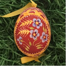 Blue Forget Me Nots on Dark Red Eastern European Egg Ornament ~ Handmade in Slovakia