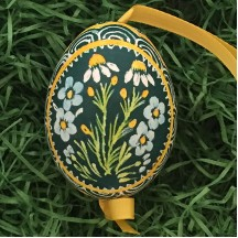 Forget Me Nots and Daisies on Green Eastern European Egg Ornament ~ Handmade in Slovakia