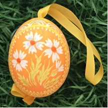 Asters on Orange Eastern European Egg Ornament ~ Handmade in Slovakia