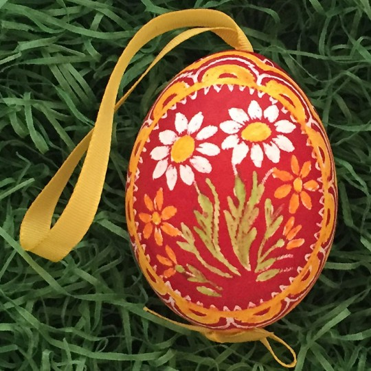 Mixed Daisies on Red Eastern European Egg Ornament ~ Handmade in Slovakia