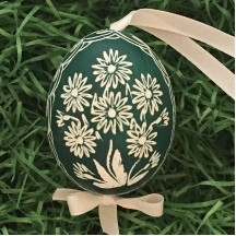 Green Floral Eastern European Egg Ornament ~ Handmade in Slovakia
