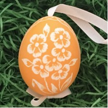 Orange Floral Eastern European Egg Ornament ~ Handmade in Slovakia