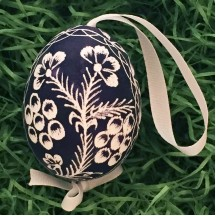 Navy Blue Floral Eastern European Egg Ornament ~ Handmade in Slovakia