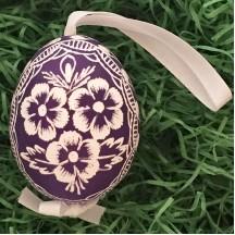 Purple Floral Eastern European Egg Ornament ~ Handmade in Slovakia