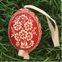 Dark Red Floral Eastern European Egg Ornament ~ Handmade in Slovakia