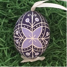 Folkloric Navy and Periwinkle Eastern European Egg Ornament ~ Handmade in Slovakia