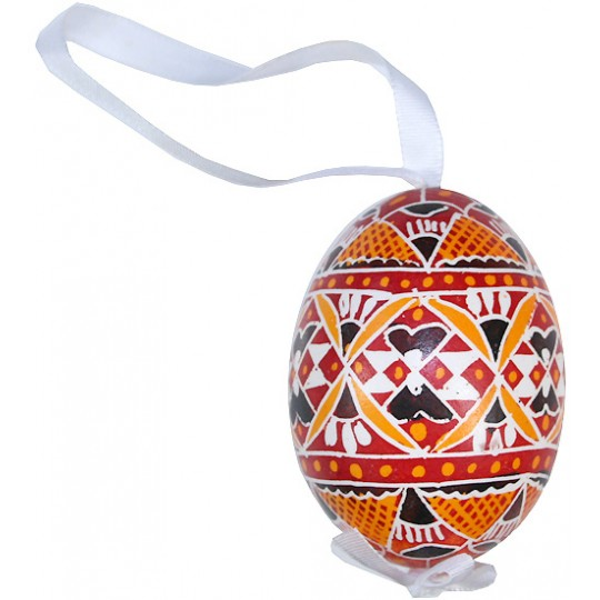 Traditional Red and Orange Pysanky Eastern European Egg Ornament ~ Handmade in Slovakia