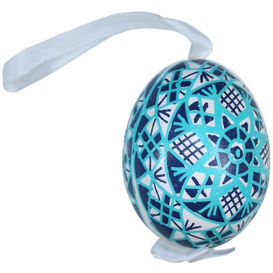 Traditional Blue and Aqua Pysanky Eastern European Egg Ornament ~ Handmade in Slovakia