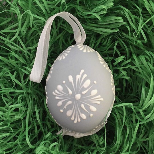 Light Blue with White Eastern European Egg Ornament ~ Handmade in Slovakia