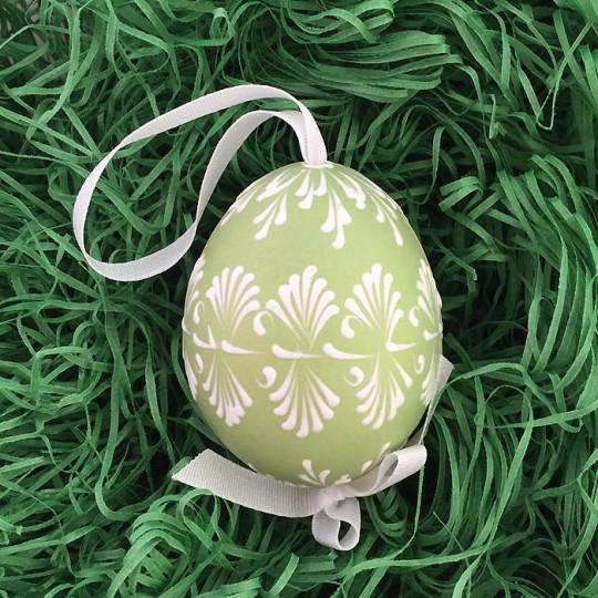 Green with White Eastern European Egg Ornament ~ Handmade in Slovakia