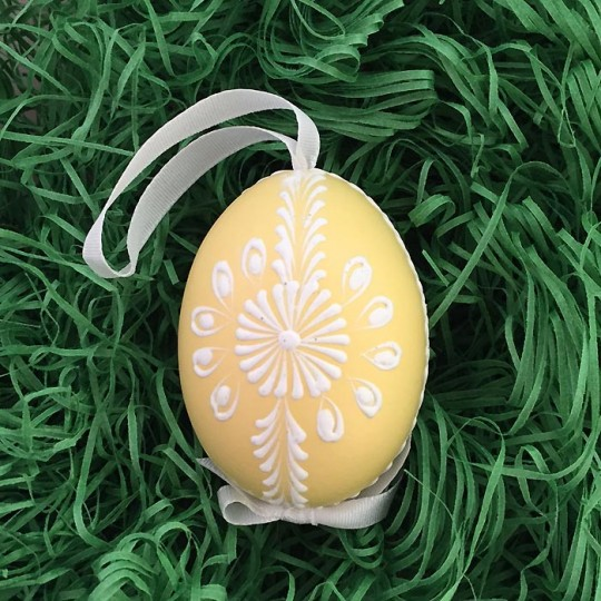 Yellow with White Eastern European Egg Ornament ~ Handmade in Slovakia