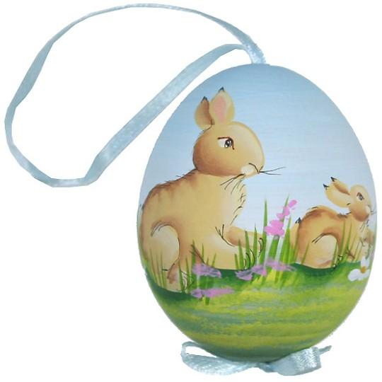 Springtime Bunnies Eastern European Egg Ornament ~ Handmade in Slovakia