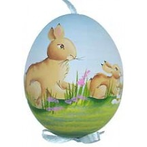 Springtime Bunnies Eastern European Egg Ornament ~ Handmade in Slovakia