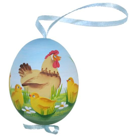 Springtime Roosters Eastern European Egg Ornament ~ Handmade in Slovakia