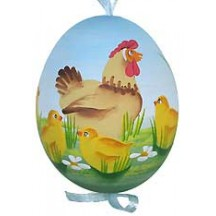 Springtime Roosters Eastern European Egg Ornament ~ Handmade in Slovakia