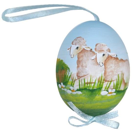 Springtime Sheep Eastern European Egg Ornament ~ Handmade in Slovakia