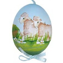 Springtime Sheep Eastern European Egg Ornament ~ Handmade in Slovakia