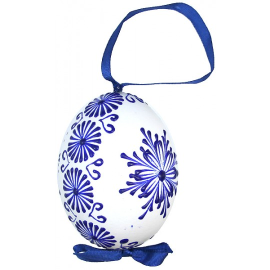 White with Dark Blue Eastern European Egg Ornament ~ Handmade in Slovakia