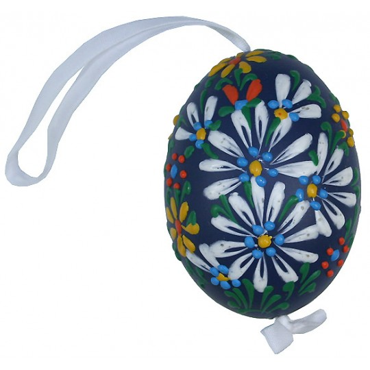 Dark Blue Spring Flowers Eastern European Egg Ornament ~ Handmade in Slovakia