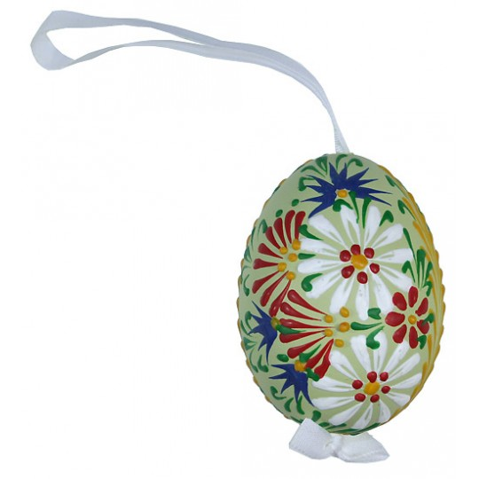 Green Spring Flowers Eastern European Egg Ornament ~ Handmade in Slovakia