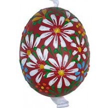 Red Spring Flowers Eastern European Egg Ornament ~ Handmade in Slovakia