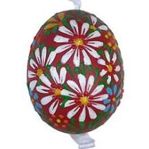 Red Spring Flowers Eastern European Egg Ornament ~ Handmade in Slovakia