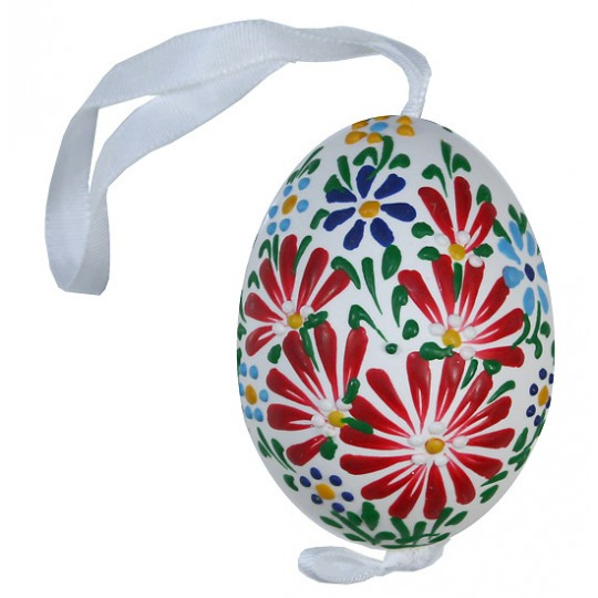 White Spring Flowers Eastern European Egg Ornament ~ Handmade in Slovakia