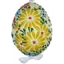 Yellow Spring Flowers Eastern European Egg Ornament ~ Handmade in Slovakia