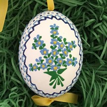 Florget Me Not Flowers Eastern European Egg Ornament ~ Handmade in Slovakia