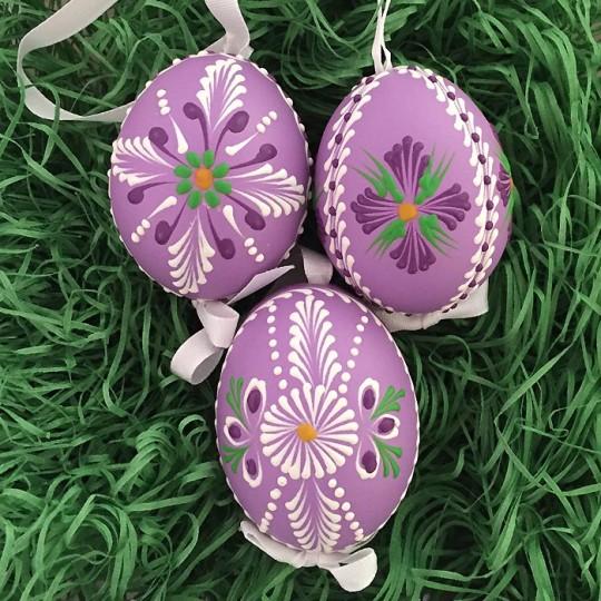Purple Folkloric Floral Eastern European Egg Ornament ~ Handmade in Slovakia
