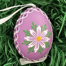 Purple Folkloric Floral Eastern European Egg Ornament ~ Handmade in Slovakia