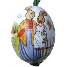 Mama and Baby Bunny Eastern European Egg Ornament ~ Handmade in Slovakia