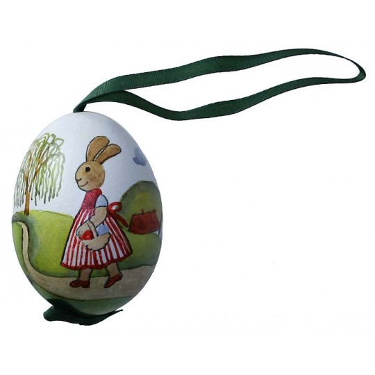 The Bunny Family Eastern European Egg Ornament ~ Handmade in Slovakia