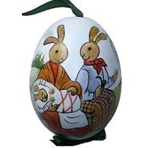 The Bunny Family Eastern European Egg Ornament ~ Handmade in Slovakia