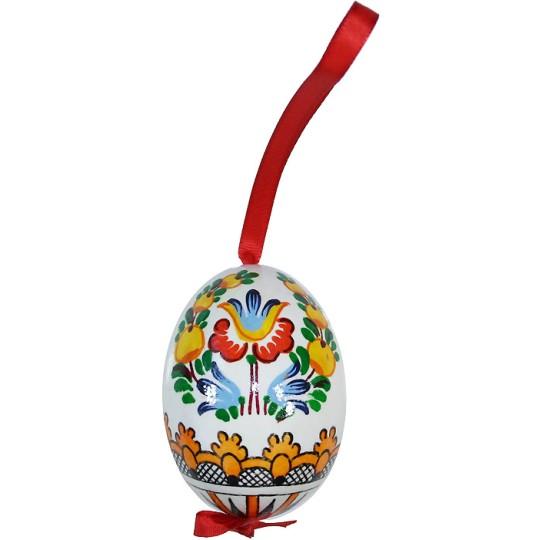 Folkloric Bird and Flowers Eastern European Egg Ornament ~ Handmade in Slovakia