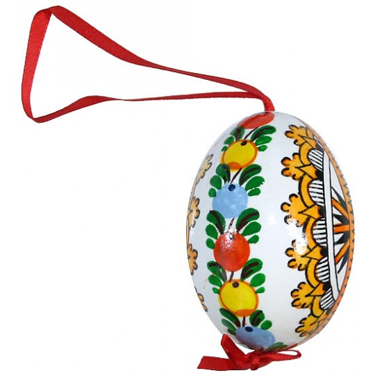 Folkloric Bird and Flowers Eastern European Egg Ornament ~ Handmade in Slovakia