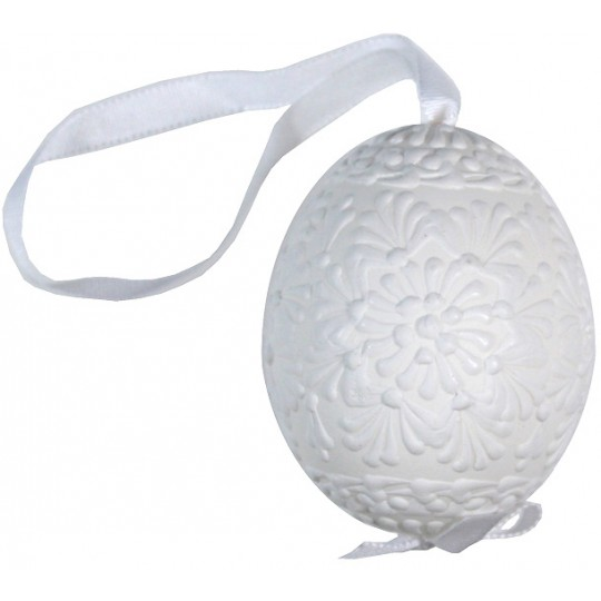 White on White Eastern European Egg Ornament ~ Handmade in Slovakia