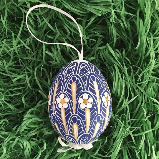Blue Faberge Floral Eastern European Egg Ornament ~ Handmade in Slovakia