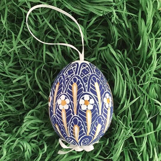 Blue Faberge Floral Eastern European Egg Ornament ~ Handmade in Slovakia