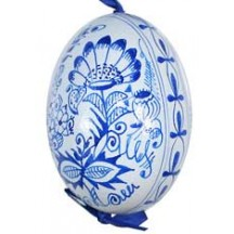 Folkloric Blue and White Eastern European Egg Ornament ~ Handmade in Slovakia