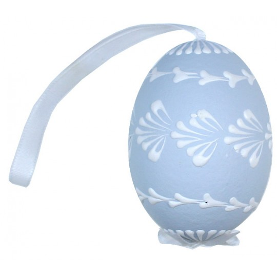 Pale Blue with White Eastern European Egg Ornament ~ Handmade in Slovakia