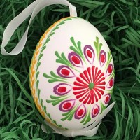Colorful Folkloric Floral Eastern European Egg Ornament ~ Handmade in Slovakia