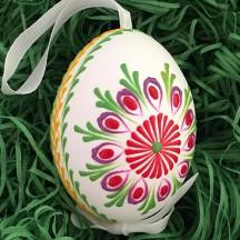 Colorful Folkloric Floral Eastern European Egg Ornament ~ Handmade in Slovakia