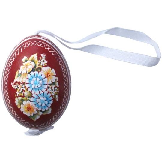 Dark Red Floral Eastern European Egg Ornament ~ Handmade in Slovakia