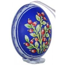 Rose Hips on Dark Blue Eastern European Egg Ornament ~ Handmade in Slovakia