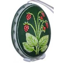 Raspberries on Green Eastern European Egg Ornament ~ Handmade in Slovakia