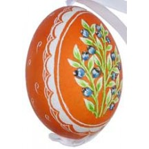 Blueberries on Orange Eastern European Egg Ornament ~ Handmade in Slovakia