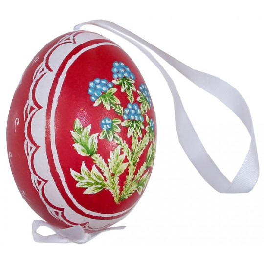 Berries on Red Eastern European Egg Ornament ~ Handmade in Slovakia