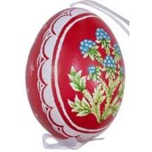 Berries on Red Eastern European Egg Ornament ~ Handmade in Slovakia