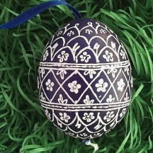 Navy Blue and White Folkloric Eastern European Egg Ornament ~ Handmade in Slovakia ~ Wax Etched